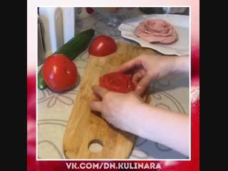 Делаем розочки из помидоров.. очень красиво. любимый обед моего мужа!