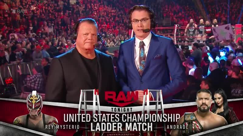 Andrade vs Rey Mysterio Ladder Match For The WWE United States Championship WWE Raw 1/20/19