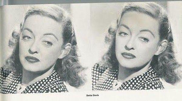 Киношники поставили перед ретушером задачу чуть смягчить образ Бетти Дэвис (которую многие считали надменной), не сильно вмешиваясь в фото. Он отлично справился.