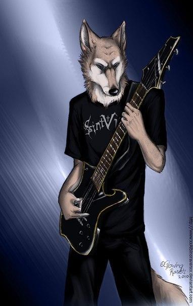 картинки волк рокер показывают
