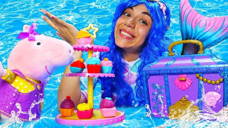 Детский набор из Сундука Русалки Свинка Пеппа испекла кексы Пинки Пай Видео про игрушки Play Doh