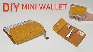 DIY mini wallet/How to make a mini wallet/미니지갑 만들기/지퍼 반지갑만들기/[제이에스데일리]