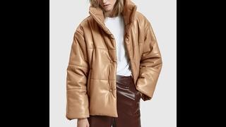 Женские пуховики из искусственной кожи 2020, модные элегантные куртки из толстого хлопка с высокой имитацией кожи