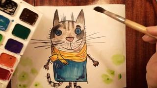 Котик в шарфике