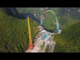 Самые высокие качели в мире открылись для посетителей в Китае…