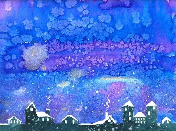 ЗИМНИЕ РИСУНКИ. РИСУЕМ ЗИМУ При изображении зимнего пейзажа, чтобы придать фону рисунка красивую текстуру, имитирующую падающий снег, посыпьте его солью, пока краска еще не высохла. Когда краска