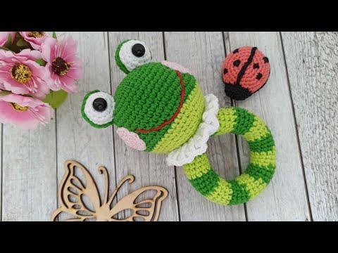 Погремушка лягушонок вязаная крючком crochet rattle Häkelrassel