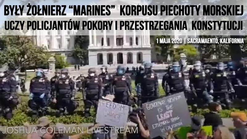 """Żołnierz """"Marines"""" korpusu piechoty morskiej uczy policjantów pokory i przestrzegania konstytucji"""