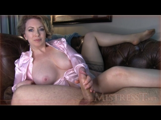Mistresst -   in sheer nylon stockings give a handjob