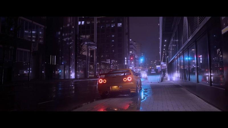 Nissan Skyline R34 GTR Vspec II on a rainy night 4K