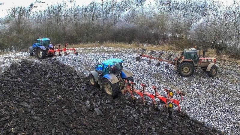 Szántás 2016 Plowing Pflügen Orka New Holland T7 270 T6 155 Fiatagri 180 90 Turbo