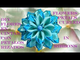 DIY Kanzashi flores pétalos rizados en cintas - flower petals curled ribbons in two colors
