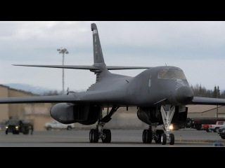 Rockwell B-1 Lancer American supersonic strategic bomber with variable sweep wing in the sky