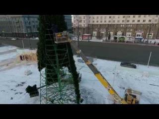 В Челябинске на главной площади города начали строить ёлку
