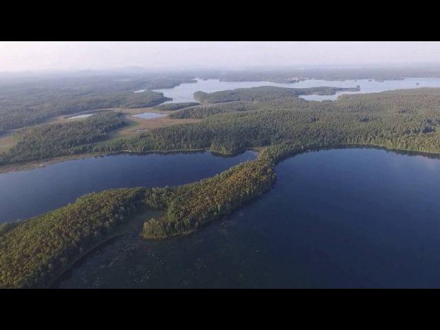 Жара и штиль на озере Увильды вид с высоты Южный Урал с дрона Phantom 3 22 августа 2016 г