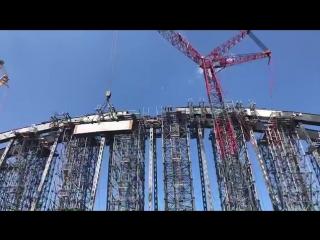 Строители завершили сборку железнодорожной арки Крымского моста ч 1