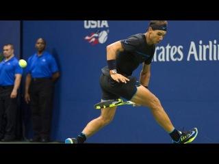 Rafael Nadal's amazing tweener at US Open 2016 vs Andrey Kuznetsov (the best tweener of all time)