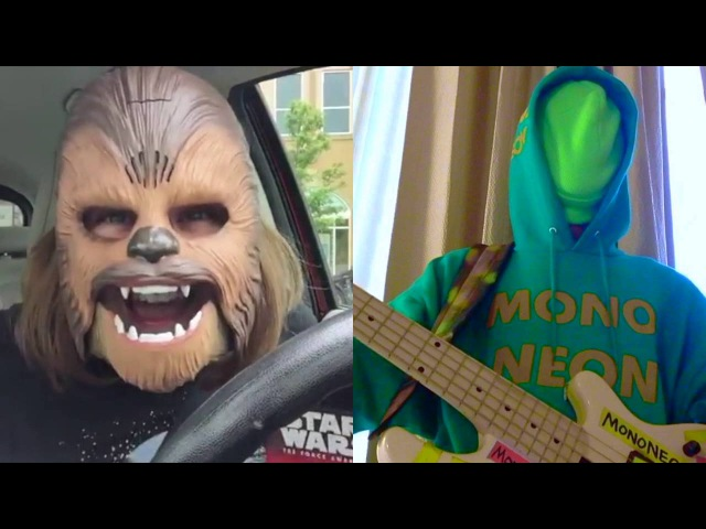 MonoNeon: Mom Puts On A Chewbacca Mask And Is Super Excited! It's the simple joys in life....