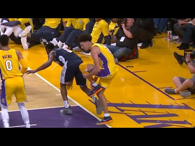 Lonzo Ball Ankle Injury Nuggets vs Lakers October 2 2017 2017 NBA Preseason