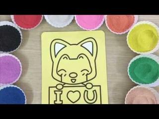 Con Heo Đất !!! Tô màu tranh cát con mèo I LOVE U - Colored sand painting Cat
