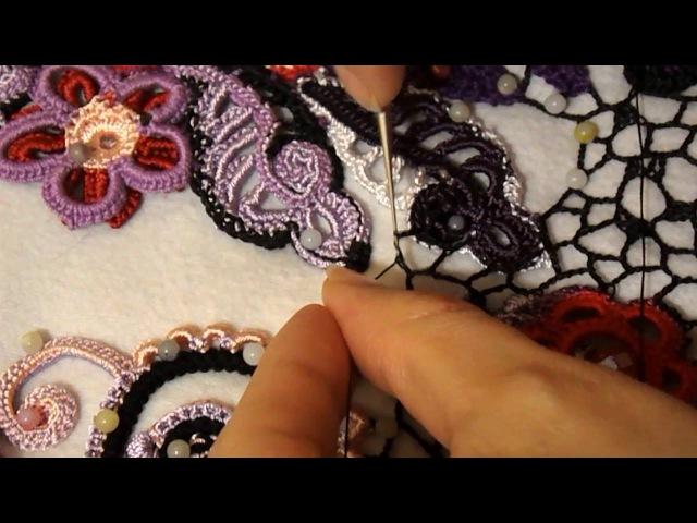 Вяжем сеточку с отстровками Уроки по вязанию крючком от Bynchik Irish Lace Crochet tutorial