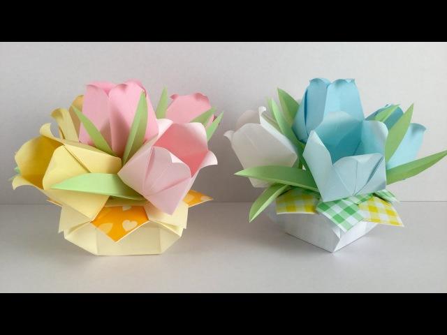 折り紙・コピー用紙 パステルカラーのチューリップのアレンジ Paper tulip ar