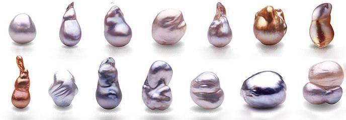 рис. Разнообразие природных форм жемчужин