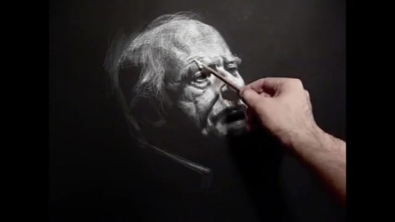 Richard 140 minutes live white chalk pencil on black paper crosshatching drawing
