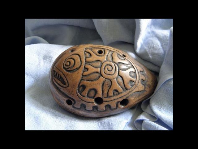 Handbuild clay Fish 7 hole ocarina double milk firing unique shamanic totem musical instrument