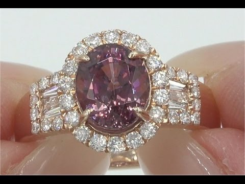 Double GIA Certified Natural Color Change Pyrope Spessartine Garnet Diamond Rose Gold Ring C945