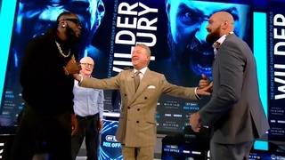 Deontay Wilder shoves Tyson Fury as both fighters try to spar at London press conference