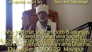 SBenru190629 Кто сказал, что шафрановая одежда и саньяса не допускаются в вайшнавском обществе?