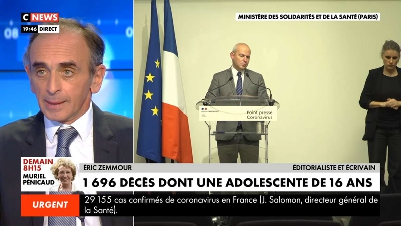 Eric Zemmour Jérôme Salomon veut dissimuler l'incompétence du pouvoir Face à l'info 26 03 2020