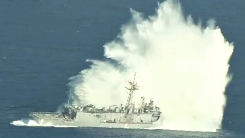 Sinking A Navy Frigate With Missiles And Torpedoes SINKEX Sinking Exercise