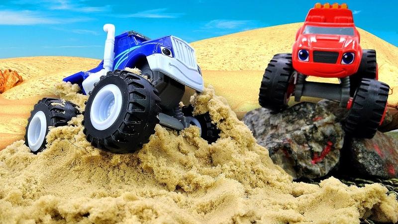 Crusher et Blaze font la course dans le désert. Vidéo en français pour enfants.