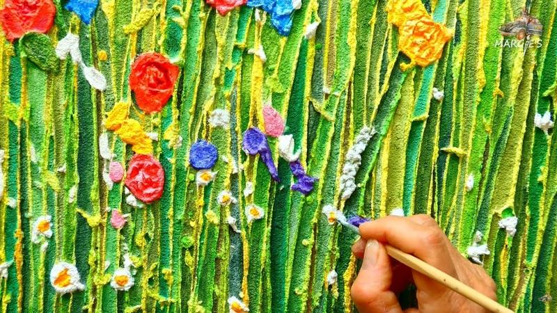 Wild Blumen 3D, abstrakte Acryl-Malerei, Zement-Spachtelmasse, Relief, Anleitung, Anfänger