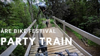Party Train behind Martin Sdestrem on Swedish's most famous Jump Trail | re Bike Festival