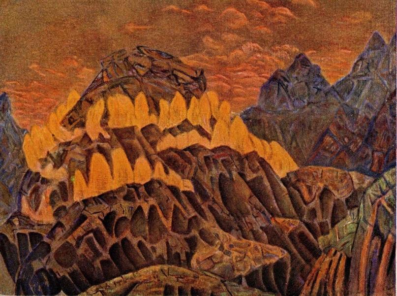 Н.К. Рерих Заклятие огня [эскиз декорации] 1907