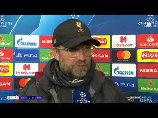 """""""the second goal was world class"""" jurgen klopp post match interview after 2-0 win vs porto"""