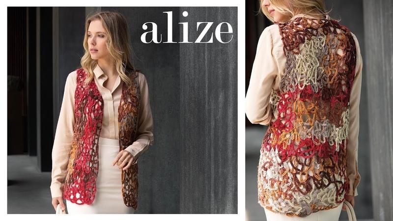 Alize Burcum Batik ile Zeminsiz Zincir İşi Yelek Yapımı - Making Baseless Chain Work Vest