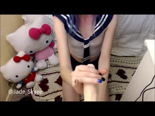 Jadeskye - shy sailor teen pov blowjob with toy [manyvids blowjob dildo chaturbate bongacams amateur teen anal]