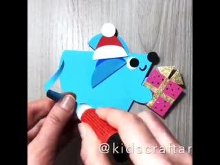 Новогодняя поделка для малышей  мышка с подарком