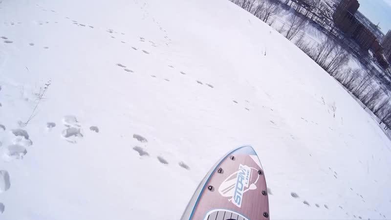 Зимние мечты о лете. С горы на SUP борде.