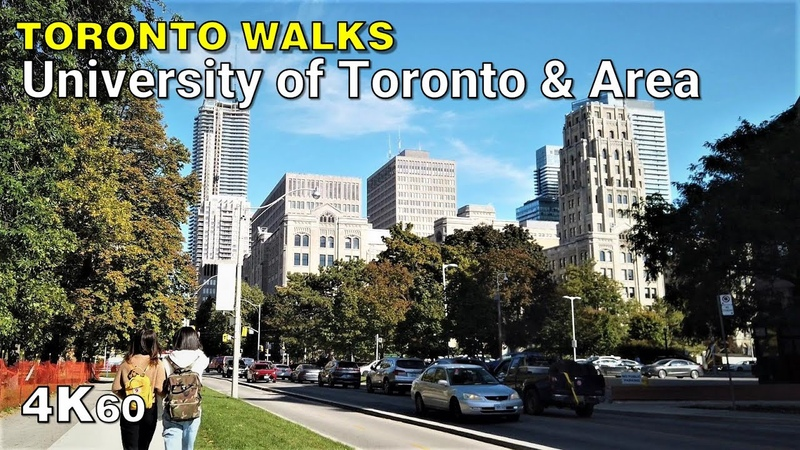 Walking around the University of Toronto various downtown streets [4K60]