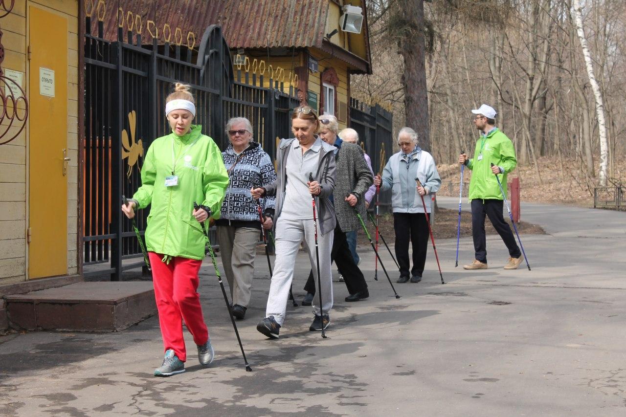 Экологи проводят занятия скандинавской ходьбой для пенсионеров на природных территориях «Кузьминки-Люблино»