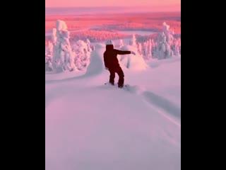 Snowboarding in a winter wonderland