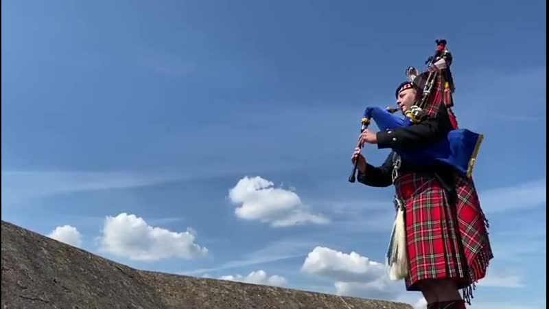 Pipe Major Richard Grisdale played 'When the Battle's O'er' on The Round Tower at Windsor Castle