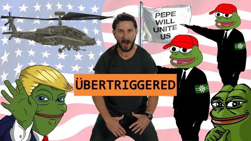 Как Шайа Лабаф проиграл троллям с 4chan. He Will Not Divide Us HWNDU AloneTogether Победа Пепе