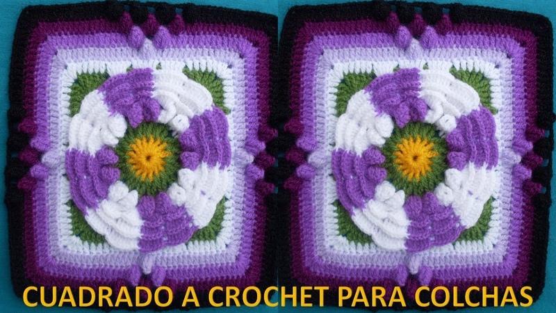 Cuadrado o Muestra FLOR DE DOS COLORES a crochet paso a paso para colchas y cojines en video
