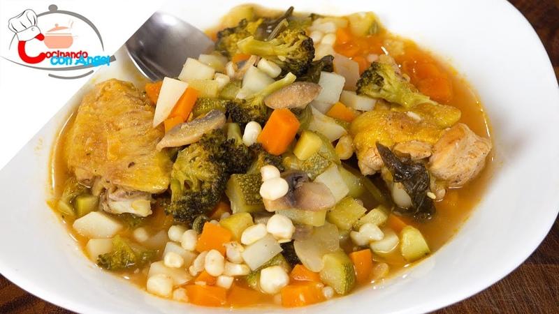 Sopa De Verduras Con Pollo Alitas